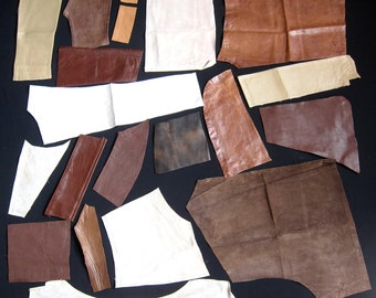 Leather Pieces, 20 Remnants, Whiskey Brown, Tan, Beige, Caramel, Eco Friendly Vintage Hide, Distressed & Plain Mix, Suede, Free Shipping