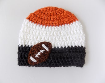 Baby Football Beanie, Sports Hat, Orange and Black Hat