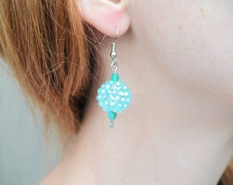Mint and teal iridescent earrings