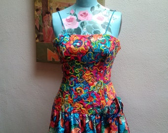 Carnival Queen...Gorgeous vtg80's Mignon New York Brazil Floral Sequin Mini Ruffle Dress with Dropped  Waist and Side Rosette...sz 00 - 2