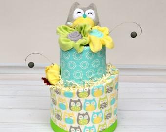 Owl Diaper Cake - Baby Gift - Owl Baby Shower - Owl Centerpiece - Unique Diaper Cake - Baby Shower Gift - Baby Shower Decor