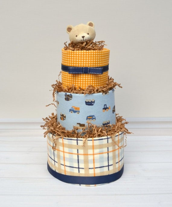 Construction Baby Gift, Construction Diaper Cake for Baby Shower, Truck Diaper Cake, Corporate Baby Gift, Unique Baby Gift, Dump Truck