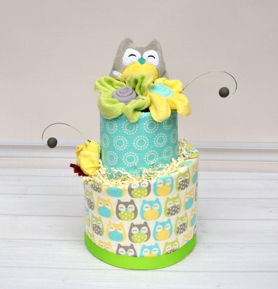 Owl Baby Shower Decor, Neutral Owl Shower, Owl Diaper Cake, Baby Gift Neutral, Neutral Baby Shower Centerpiece, Yellow & Aqua Shower