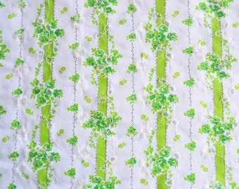 Vintage Fabric - Semi Sheer Green Eyelet Stripe Embroidered Flowers - By the Yard