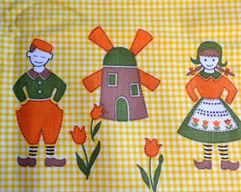 Vintage Fabric - Dutch Girl Boy Windmills on Yellow Gingham - 36 x 34 Border Fabric