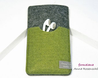 case smartphone felt green anthracite headphone for iPhone 4 5 6plus mobile Samsung HTC LG