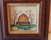 Theorem painting, bee hive signed Jean Henry theorem painting, vintage Jean Henry folk art