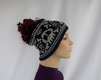 Headband with skulls,skull headband,knit skull headband, skull ear warmer, knitted ear warmer with skulls