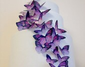 BUY 38 get 6 FREE - purple wedding cake decoration - edible butterflies cake toppers - lavender wedding cake by Uniqdots on Etsy