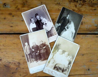 4 vintage cabinet cards, vintage photographs, old cabinet cards, antique photos, families, babies, children, wedding photo, old photos
