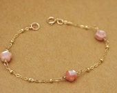 dainty gold filled bracelet, PETITE FLOWERS, hand carved natural shell flower bracelet, gold filled beaded chain, delicate, everyday wear,