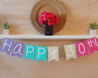 """Happy Birthday Banner - Personalized with Age - Color Blocked - 5"""" Pennants - Birthday Party Decoration"""