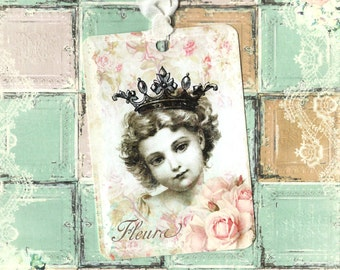 Tags, Sweet Girl, Roses, Crowned Girl, Gift Tags, Vintage Style
