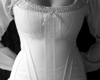 Dickensian Early Victorian Corset c.1835 in Coutil or Brocade, All Sizes, Straps in cotton or brocade, costume cosplay