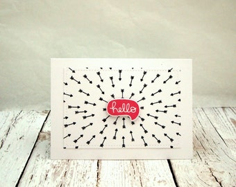Hello Card, Friendship Card, Speech Bubble Hello Card, Thinking of You Card, Geometric Design Hello Card,