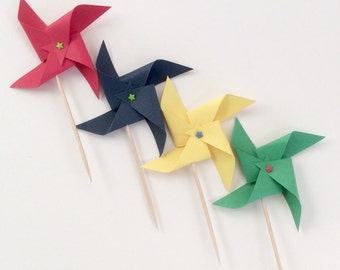 Primary Color Cupcake Pinwheels Green Red, blue Yellow