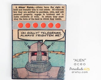 ALIEN, Original ACEO, Paper Collage, artist trading card, recycled paper, recycled comic book, alien art, robot art, alien rights, collage