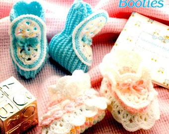 Annie's Mile a Minute Crochet Baby Booties Ribbing Ribbons Shells Intertwined Rings Cowboy Denim Craft Pattern Leaflet Annie's Attic 266B