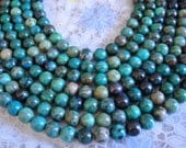 "13. Chrysocolla 8mm Round Bead Shape 16"" Inches Strand 49 Pcs Stones Beads"