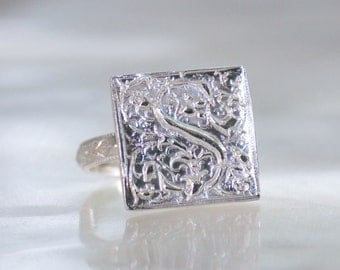 Vintage Style Highly Ornate Goudy Cloister Initial Signet Ring in Sterling Silver - Eco Friendly Recycled Nickel Free