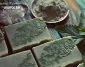 Organic Nettle Green Clay Shampoo Bar Soap. With Eucalyptus and Menthol. Vegan shampoo for hair loss. All natural. Handmade from scratch