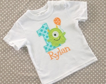 Little Monster Personalized Birthday Shirt - 12 mo, 18 mo, 24 mo, 3t, 4t, 5t