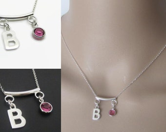 Initial Necklace, Bar Necklace, Birthstone Necklace, Sterling Silver, Charm Necklace, Jewelry, Gift