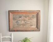 Antique Japanese Izakaya Wooden Hand Painted Sign