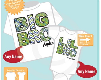Set of Two Big Brother and Lil Little Brother Shirt Personalized Infant, Chevron and Plaid Toddler or Youth Tee Shirt or Onesie (07172015f)