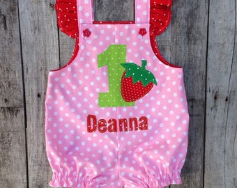 Berry First Birthday Pink Bubble Romper - Strawberry First Birthday