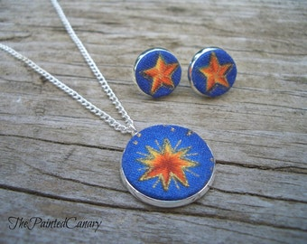 Pendant and Earring Set,Textile Necklace, Button Post Earrings, Stars, Handmade, TPC original