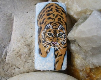 Tiger in the Snow Necklace, Hand Painted Wildlife Pendant, Nature Art Jewelry