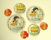 Vintage Ohio Art tin toy dishes, Ducky Bath TIme & circus monkey instant collection, 7 piece set, childs tin tea set, collectible litho art