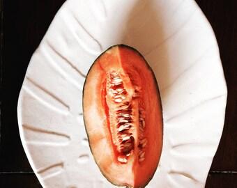 White Ceramic plate ,tropical, platter, serving plate by Christiane Barbato