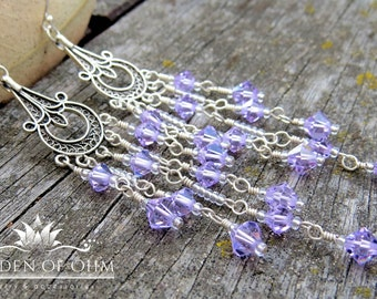 Lavender Chandelier Earrings w Cascades of Swarovski Crystals, Sterling Silver Earrings, Victorian Crystal Earrings, Dramatic Earrings