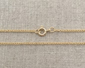 """24"""" Long Gold Necklace, Gold Chain Necklace, Gold Necklaces for Women, 24 Inch Gold Cable Chain, 1.5mm Cable Chain, Gold Filled, 24 Inches"""