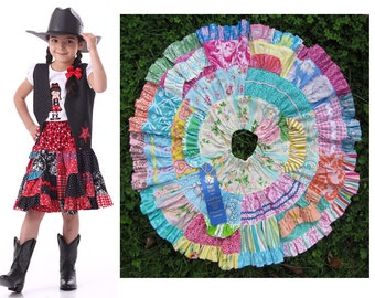Toddler and Girls Twirl Skirt Pattern, Twirly Patchwork Skirt, PDF Sewing Pattern by Scientific Seamstress