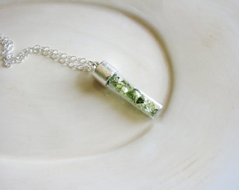 Glass Vial Necklace, Boho Layering Necklace, Glass Chips Necklace, Pale Green Necklace, Long Silver Necklace