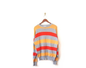 BTS SALE Vintage 80s Oversized Unisex College Campus Striped Gray Orange and Yellow Knit Candy Corn Grunge Sweater s m l