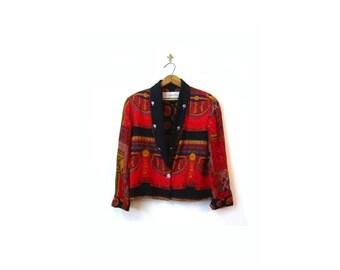 BTS SALE Vintage 90s Blood Orange Red Baroque Los Angeles Versace Inspired Blazer Jacket women s m