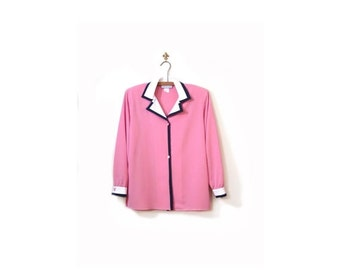 BTS SALE Vintage 80s Pink Button Up Preppy Chic Oxford Blouse with Accented Collar women s m
