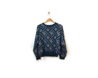 BTS SALE Vintage 80s Unisex Pine Green & Gray Ski Knit Sweater s m women men vestiesteam retro indie hipster cosby geometric geek nerd prepp