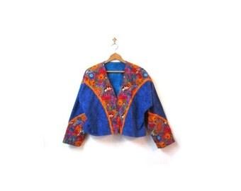 BTS SALE Vintage 60s Psychedelic Cats Floral Felt Bohemian Hippie Reversible Jacket Blazer m l xl