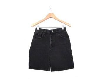 BTS SALE Vintage 80s Faded Black Denim High Waist GRUNGE Shorts small