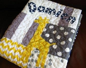 Baby Quilt Boy - Yellow Gray Giraffe  - Modern Baby Quilt - Yellow Navy Gray Quilt - Giraffe Baby Quilt - Handmade - Modern Patchwork