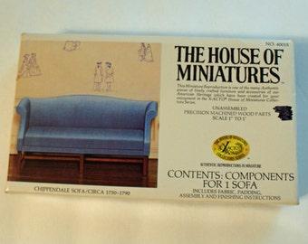 Miniature Chippendale Sofa Kit Item 40015 House of Miniatures 1976