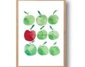 Apples art print, Minimalist fun kitchen art, print of apples watercolor, Green apples, Red apple art, apples print,teachers appreciation
