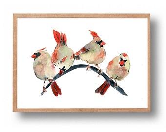 Cardinals gathering, cardinals watercolor print , Christmas, wall decor, Nursery decor, woodland art, bird art, wild life print