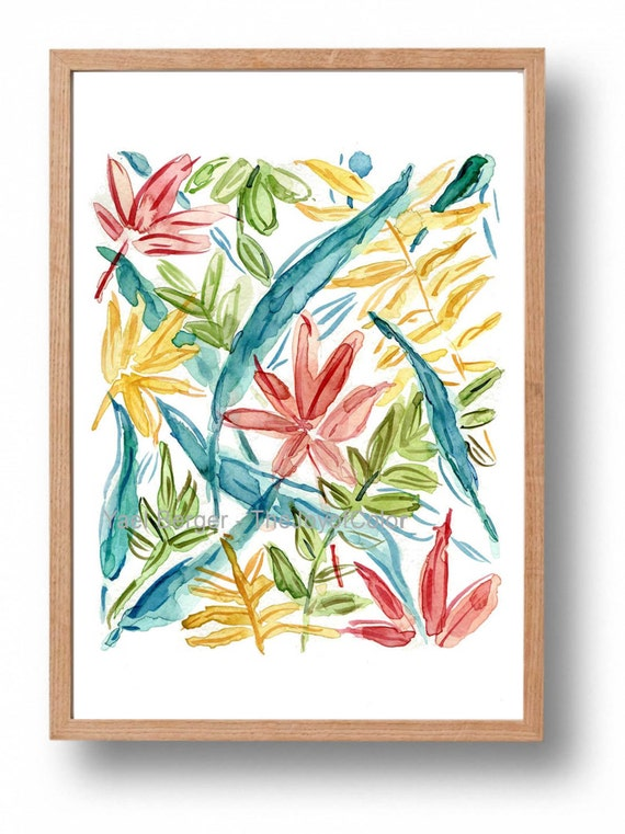 Colorful Abstract leaves print, colorful art  print,watercolor print,modern art, mothers day, Yellow teal orange green, fresh home decor