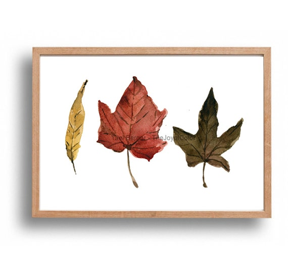 Indian Summer leaves art Print, autumn leaves watercolor, watercolor print, brown, rust, mustard, Still life art, fall leaves art, botanical